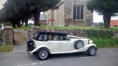 Wedding car Goodmanham Church, East Yorkshire